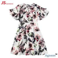 89D17384 Fashion Round Neck Lotus Leaf Sleeve High Waist Floral Print Linen Dress Women Manufactures