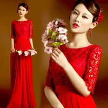 Red Lace Half Sleeveless Floor Length Bridal Dress Gorgeous Evening Dress TSJY145 Manufactures