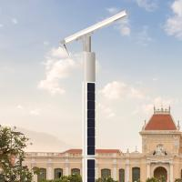 Robotic Self Cleaning Led Intelligent Street Light High Power Pole Lithium Battery Manufactures