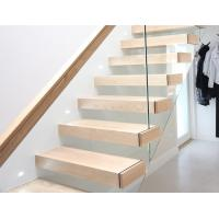 Wooden Tread Railing Building Floating Stairs , Floating Glass Staircase With Top Handrail Manufactures