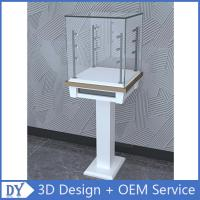 Free 3D design modern fashion wooden tempered glass display cabinets with 4 pcs led spot lights