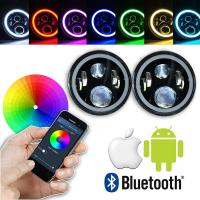 7 Inch Round RGB LED Headlights Bluetooth Phone APP Control High Low Beam Manufactures
