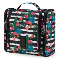 Hawaiian Flower 17 Compartments Non Slip Zipper Hanging Toiletry Bag Manufactures