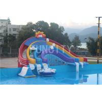 0.55mm PVC Tarpaulin Four Lane Inflatable Rainbow Water Slide For Water Park Games Manufactures