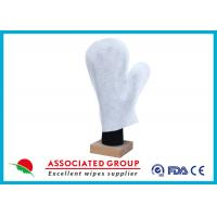 Thumb Shape Body Wet Wash Glove Big Pearl Dot Spunlace With Yarns Sewing Manufactures
