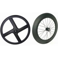 Black Carbon Tubular Track Wheels , 8 Bars 4 Spoke Track Cycling Wheels  Manufactures