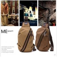 Brown Cotton Canvas Single Strap Backpack For School Boys Outdoor Activities Use Manufactures