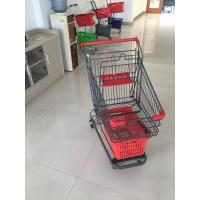 Grey Powder Coating Grocery Trolley Cart , Large Capacity Shopping Trolley 4 Inch PU Casters Manufactures