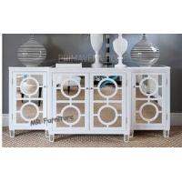 White Mirrored Side Board Circles Door Pattern Style Wooden Material Manufactures