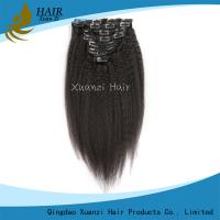 Buy cheap Durable Full Cuticle Clip In Virgin Hair Extensions Kinky Straight Soft Smooth from wholesalers