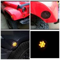 IP 68 Jeep Wrangler Headlights , 2x Smoked LED Front Fender Flare Turn Signal Side Marker Light Manufactures