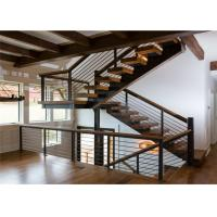 Cable Railing Steel Stringer Wood And Glass Staircase 3 Flights Straight DIY Installation Manufactures