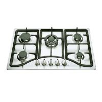 110V-220V Pulse Ignition 5 Burner Gas Hob Cast Iron Pan Support Manufactures
