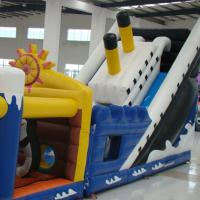 Colorful Tarpaulin  Inflatable Titanic Obstacle Course with Slide For Outdoor Manufactures