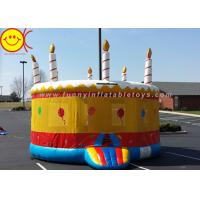 0.55mm PVC Birthday Cake Inflatable Bounce House Jumper Combo Bouncer For Kids Play Manufactures