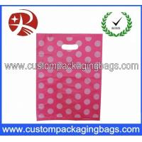 Quality Pink Dot Printed Die Cut Handle Plastic Bags Waterproof For Supermarket for sale