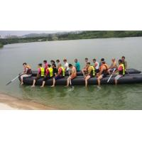 Quality Black Hand Made 0.9mm PVC Heavy Duty Inflatable Boat 20 Person for sale
