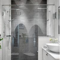 Modern tempered glass white line glass Shower Room compact shower enclosure Manufactures