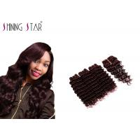 Unprocessed Remy Human Hair Weave , Burgundy 3 Bundles Of  Deep Wave Manufactures