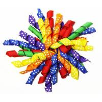 China Colorful 4.5 Grosgrain with dot Curly Ribbon bow for  Korker Hair Bow Clips on sale