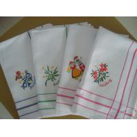 Cute Floral Tea Towels With Embroidered Logo , Custom Printed Tea Towels  Manufactures