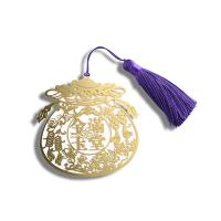 Hollow Gold Metal Bookmark , Fancy Small Metal Bookmarks With Purple Tassel Manufactures