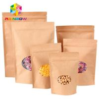 China Ziplock Stand Up Pouch Kraft Brown Paper Bag For Dry Fruit Nut Candy Packaging on sale