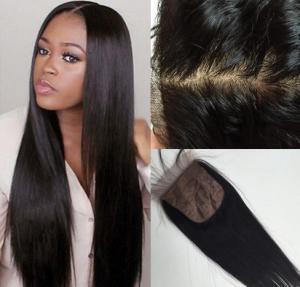 China 4'' x 4'' Silk Base Lace Top Closure Brazilian Virgin Hair Body Wave on sale
