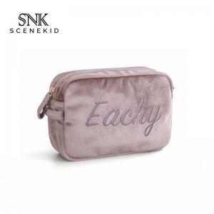 Small Letter Embroidery Plain Soft Velvet Makeup Bag For Brushes
