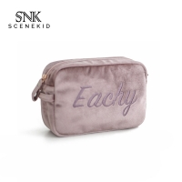 Quality Small Letter Embroidery Plain Soft Velvet Makeup Bag For Brushes for sale