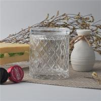Creative decorative glass candle holders with lid set , pattern design Manufactures