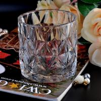 Clear contemporary glass candle holders diamond pattern design Bottom dia 98mm Manufactures