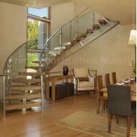 Internal residential glass treads curved staircase Manufactures
