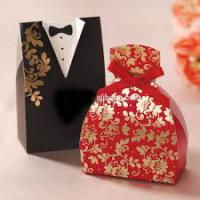 Gold Laser Paper Personalized Wedding Party Favor Boxes With Ribbon Pantone Color Manufactures
