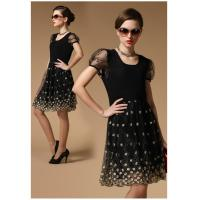 China Ladylike style Scoop neck Embroidery lace short sleeves Slimming Burnt-out dress for women on sale
