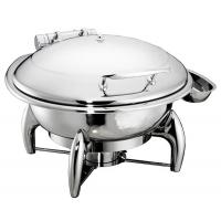 6.0Ltr Round Hydraulic Chafing Dish Full Stainless Steel Lid Induction Or Spirit Heat Source Dia.35cm Food Pan Manufactures