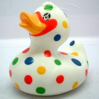 Dot Painting Multi Colored Rubber Ducks Toy , Custom Mini Blue Rubber Ducks RoHS Manufactures