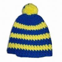 Women's Crochet Beanie Hat with Pompom on Top, Made of Acrylic Manufactures