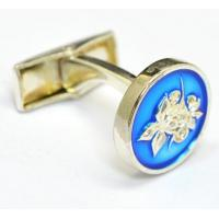 Round Metal Cuff Links with Epoxy Screen printing Enamel and customer Logo design Manufactures