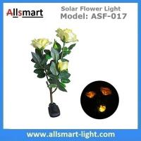 3LED Yellow Solar Rose Flower Lights Stem Solar Powered Garden Lamp Outdoor Decorative Landscape LED Rose Lights Manufactures