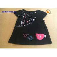 3D Fish Cap Children T Shirt Crew Neck Baby Girl Black Long Sleeve Shirt Manufactures