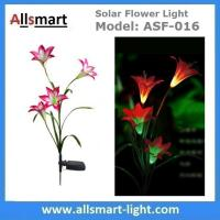4LED Articifial Solar LED Lily Flower Stake Light Stem Color Changing Energy Saving LED Lamp for Garden Patio Backyard Manufactures