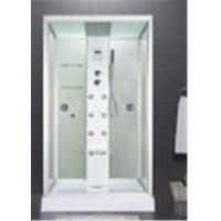 Quality Custom Made Glass Shower Cabin 2 Sided Glass Shower Enclosure With Brass Jets for sale