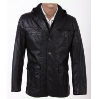 OEM Size 52, Size 54, Black 100% Viscose and Knitting Hooded PU Leather Coat Manufactures