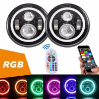 Diecast Aluminum 40W Jeep Wrangler Headlights With RGB Bluetooth Controller Manufactures