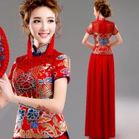 Chinese Style Red Lace Gorgeous Evening Dress High Blue Neck Knot Set Dress TSJY127 Manufactures