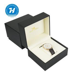 Black Custom Leather Watch Box Embossing Lamination UV Finishing