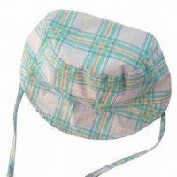 Baby Hat with Checked Pattern, Made of Soft Cotton Sheet Fabric Manufactures