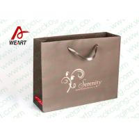 Brown Custom Paper Shopping Bags With Bottom Cardboard Satin Ribbon Manufactures