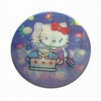 3D Lenticular Button/Metal Pin Badge, Made of Tin/Iron, with Full Color Printing Manufactures